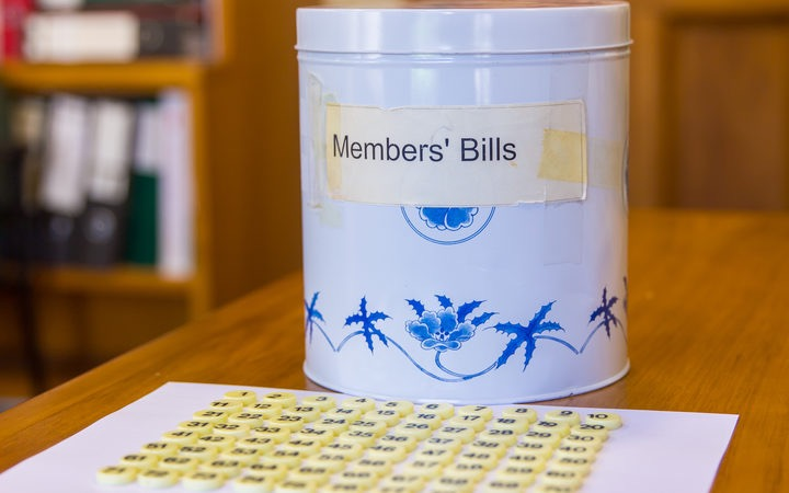 The vintage biscuit tin from whch bills are drawn in the New Zealand parliament.