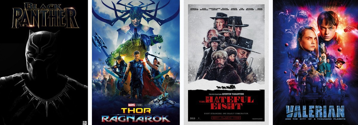 "Some people call me the space cowboy! Movie posters for ""Black Panther"", ""Thor: Ragnarok"", ""The Hateful Eight"" and ""Valerian"""