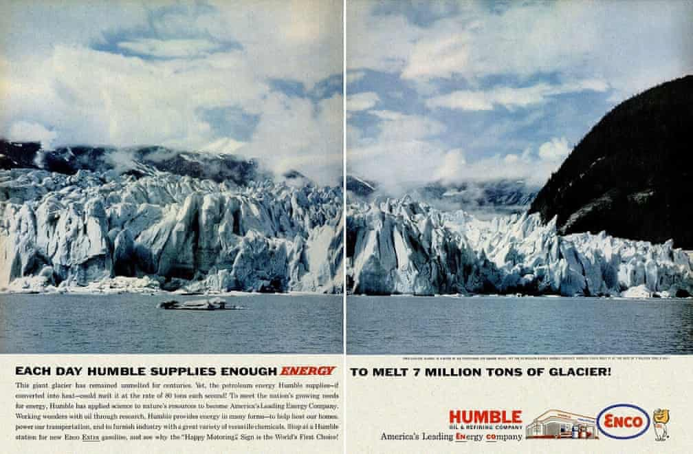An advert saying Each day Humbles supplies enough energy to melt 7 million tons of glaciers.