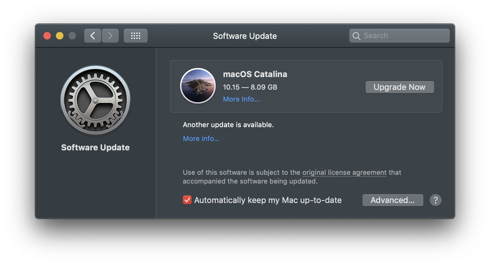 The update info box for macOS 10.15 Catalina