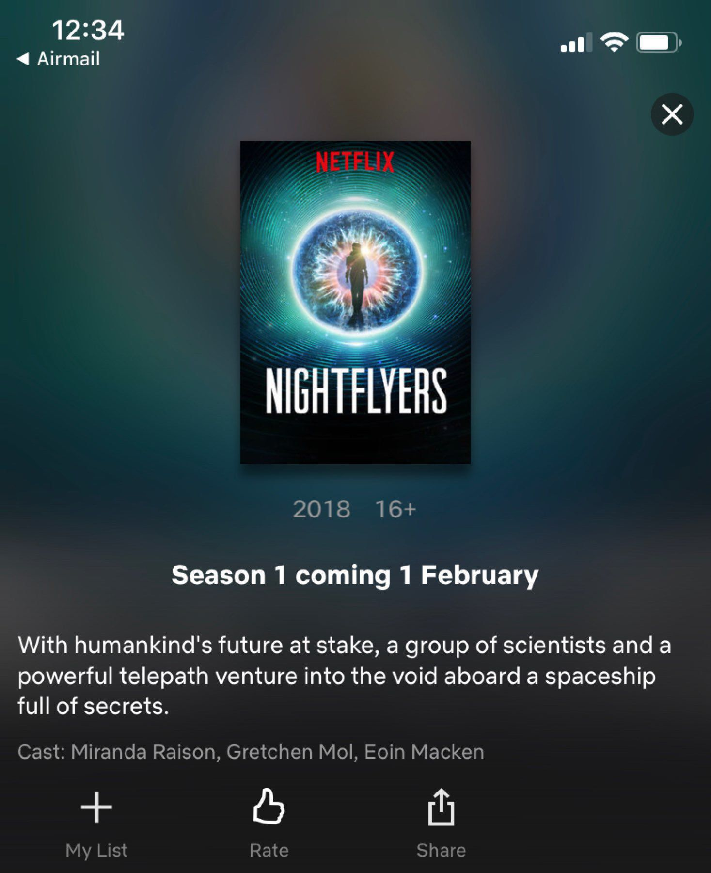 A screenshot of the Netflix screen for Nightfliers - a new sci-fi series