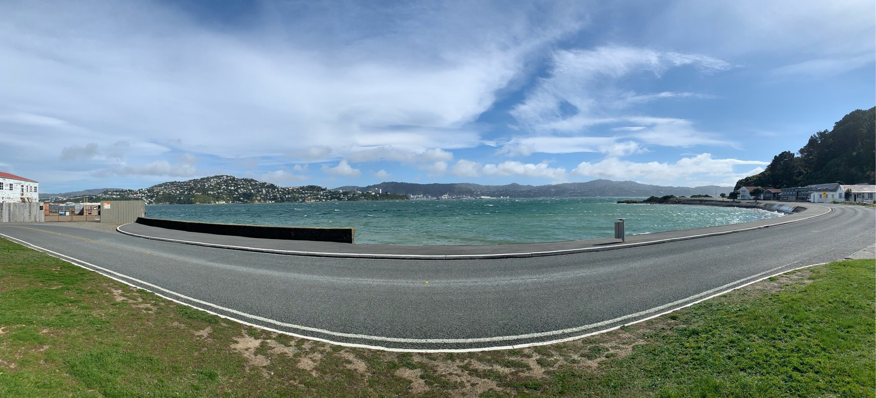 A panorama of Wellington Harbour from the Chocolate Fish cafe at Shelly Bay