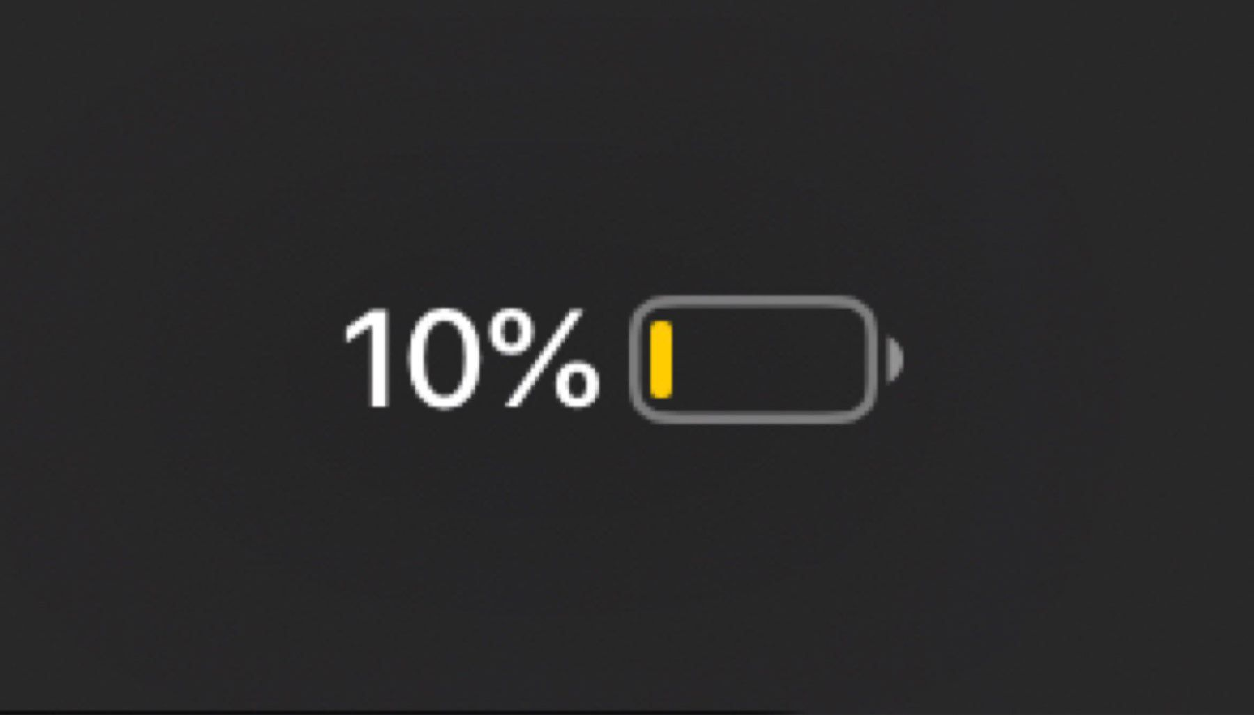 The battery meter showing 10% remaining.