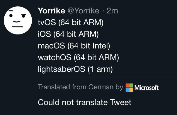 A screenshot of my previous post listing OS processors in Twitter, where Twitter and Microsoft have attempted to translate it from German. And failed.
