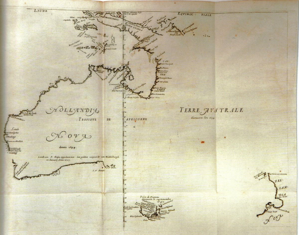 A map from 1644 showing Hollandia Nova (New Holland, which is now Australia) and Zeelandia Nova (New Zealand)
