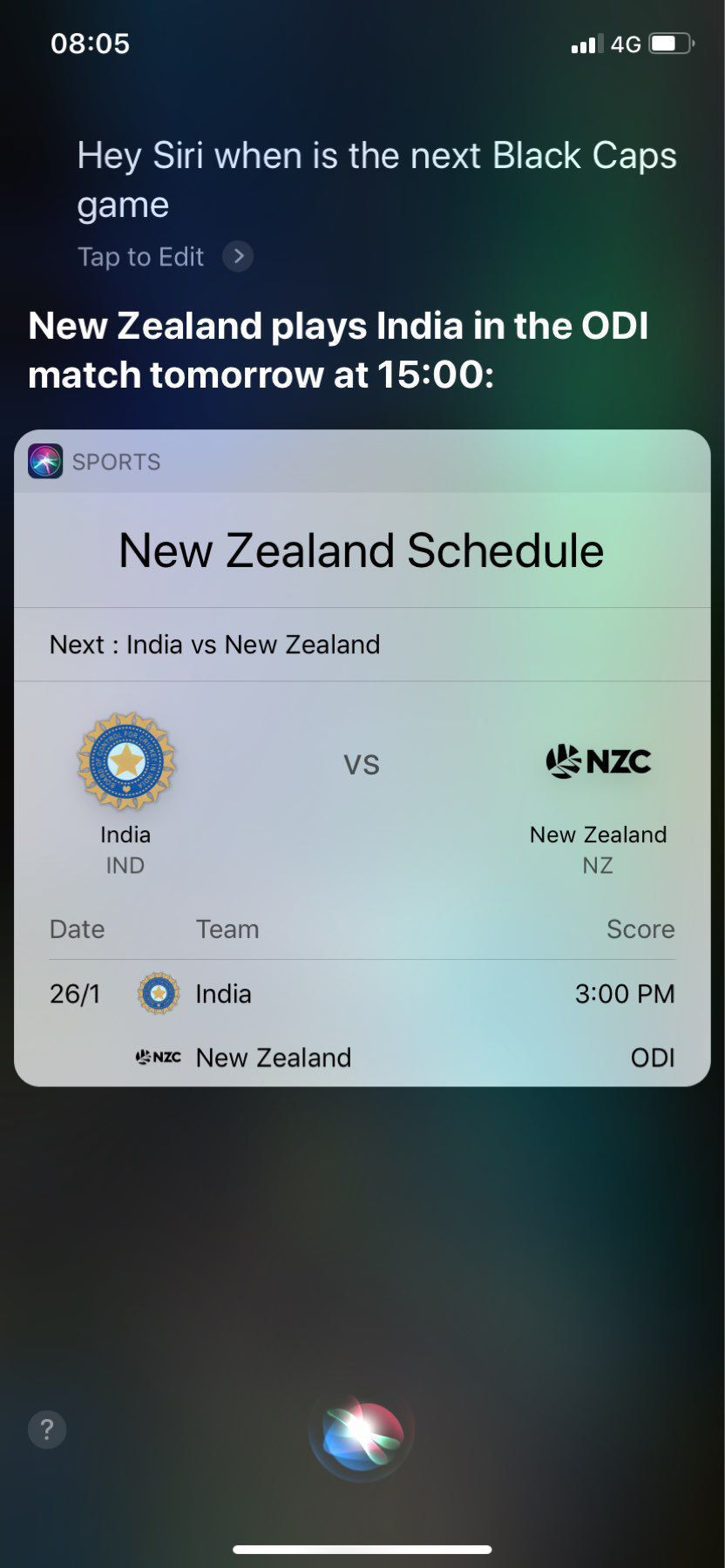 A Siri information screen showing details of the next Blackcaps v India ODI game.