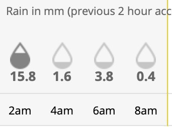 A screenshot of 2-hour accumulated rainfall from last night. From midnight to 8 am there was 21.6 mm of rain. 15.8 of that from midnight to 2 am.