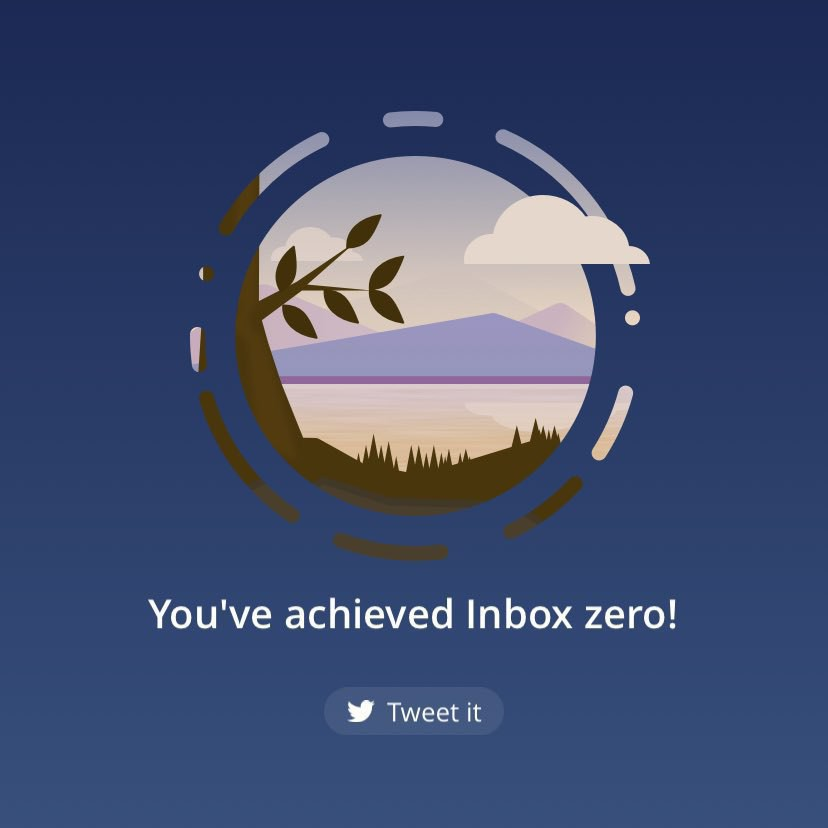 A screenshot of my mail app saying I've reached Inbox Zero
