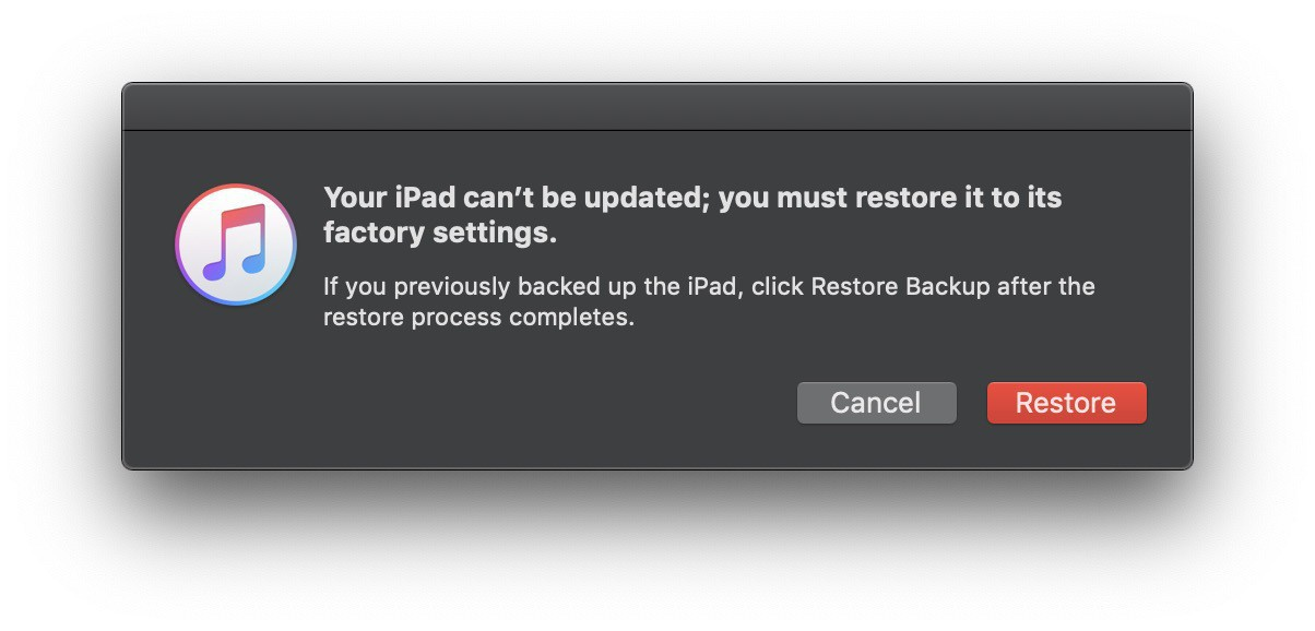 Your iPad could not be updated, it has to be restored.