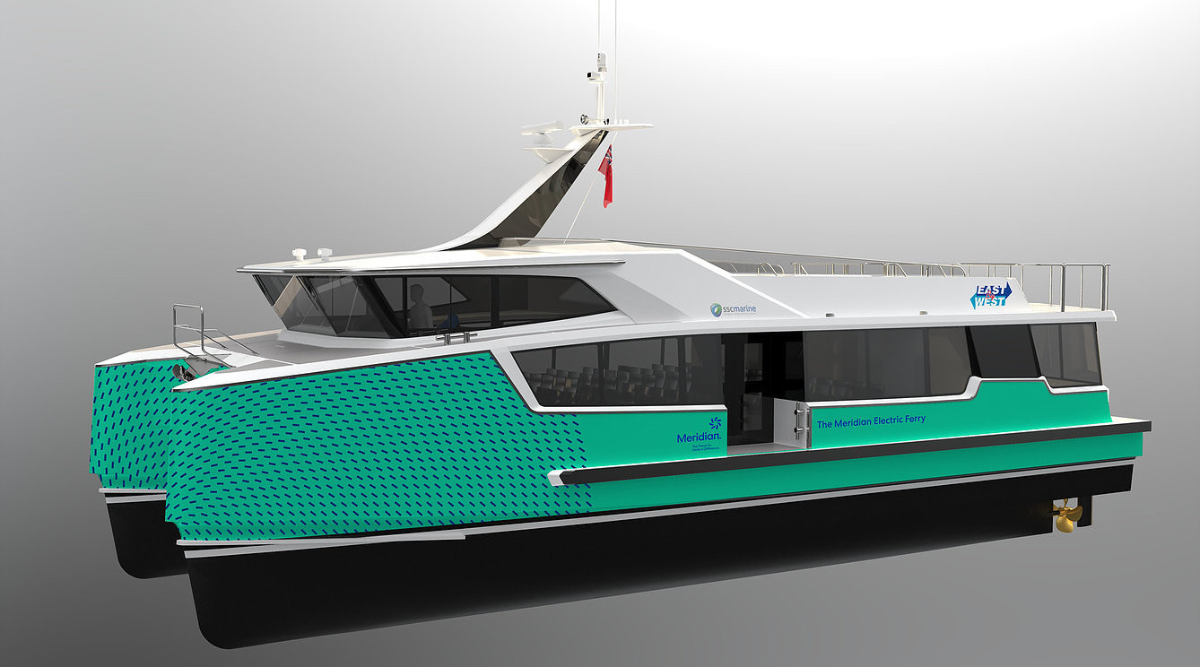 A 3D render of the new electric East by West ferry for Wellington, going into service next year.