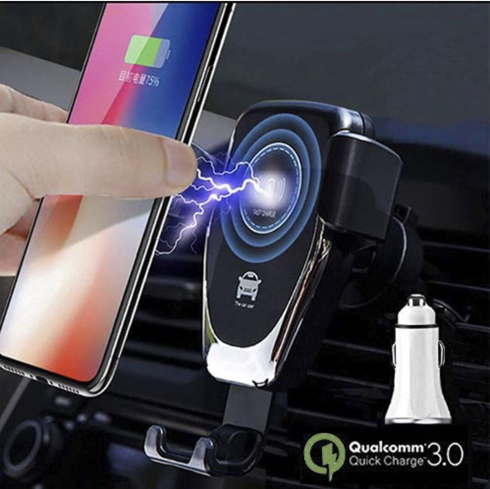 A wireless charger shown with lightning coming out of it towards a nearby phone.