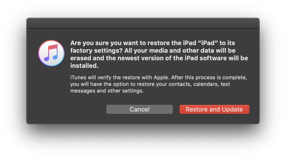 Are you sure you want to restore? Press the button and iTunes will restore your iPad.