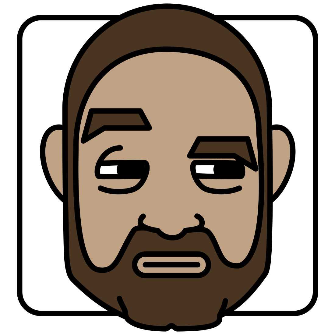 My new avatar, a self-portrait cartoon of me suspiciously looking to the left with a raised eyebrow.