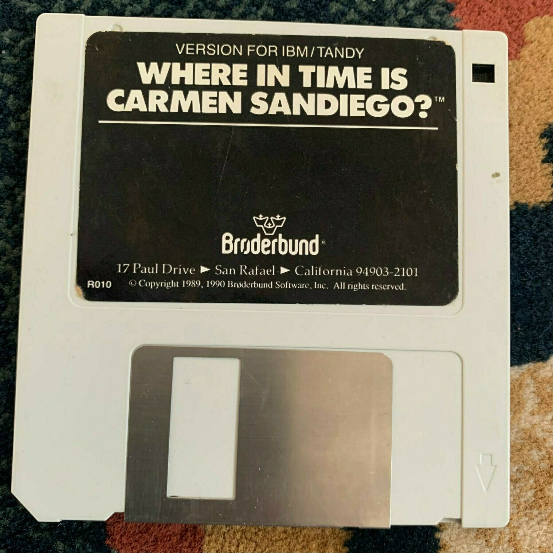 The floppy disk for Where in Time is Carmen Sandiego