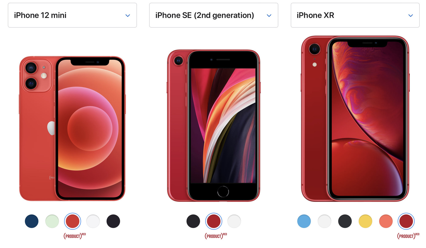 the iphone Xr, SE 2 and 12 mini is Product Red colours. the newer the phone, the closer to orange it is.
