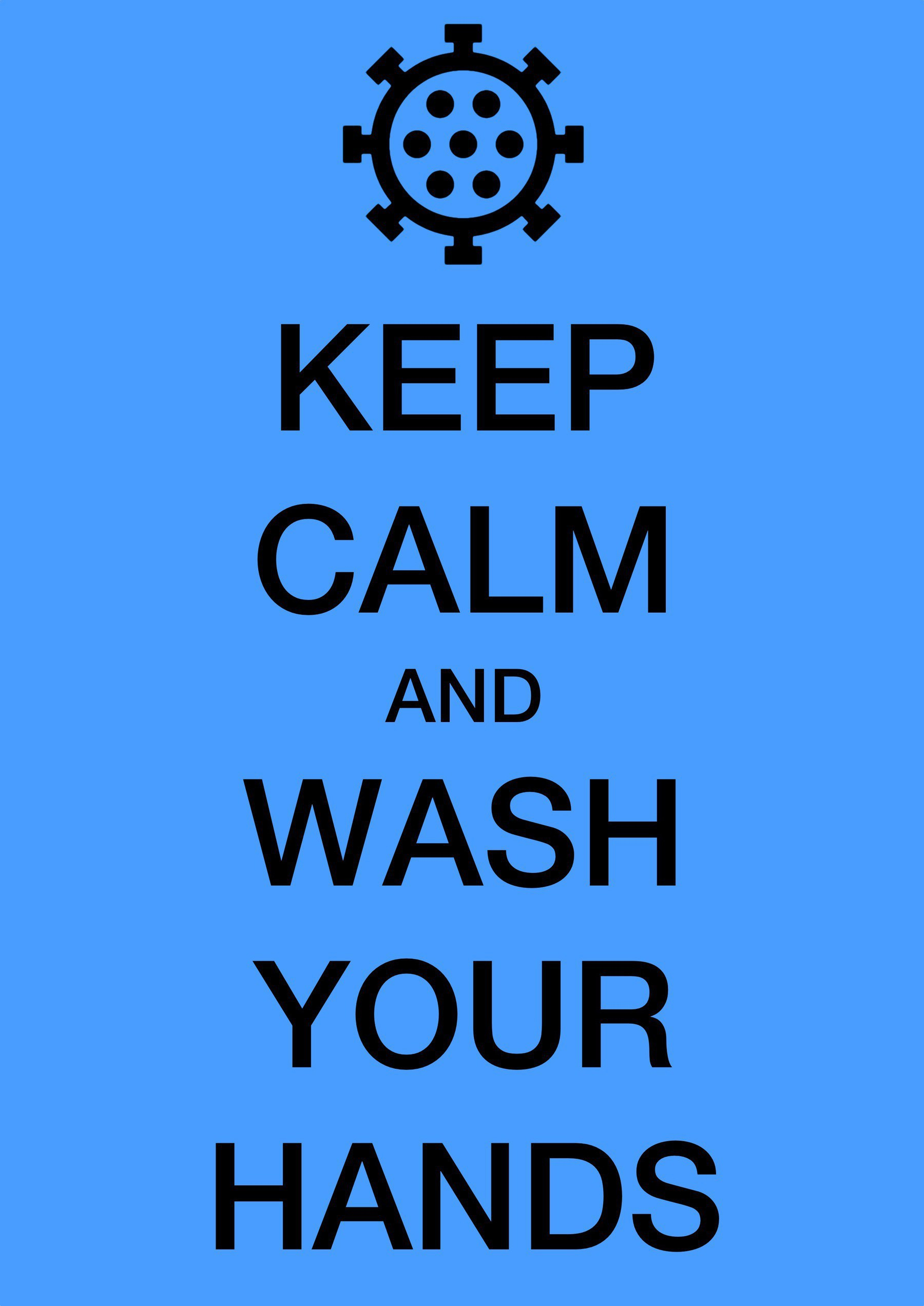 A poster in the style of the Keep Calm and Carry On posters of the second world war, but with a Carona virus on top instead of a crown, ad the word Keep Calm and Wash Your Hands