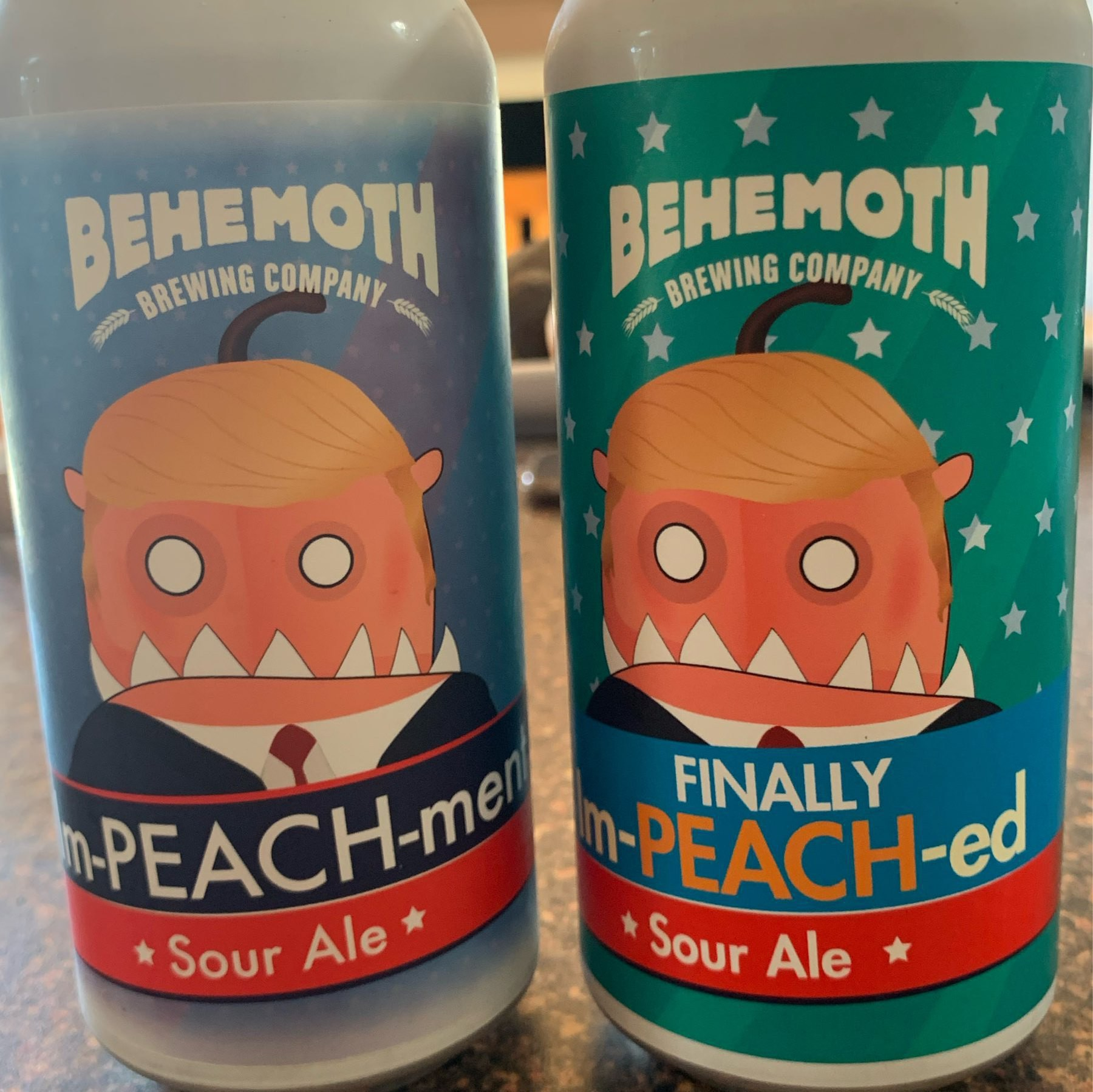 Cans of Im-peach-ment and Finally Im-peach-ed sour ales by Behemoth brewing.