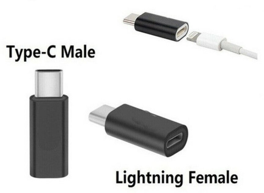An adaptor that is a USB-C plug on one end, and a lightning input port on the other.