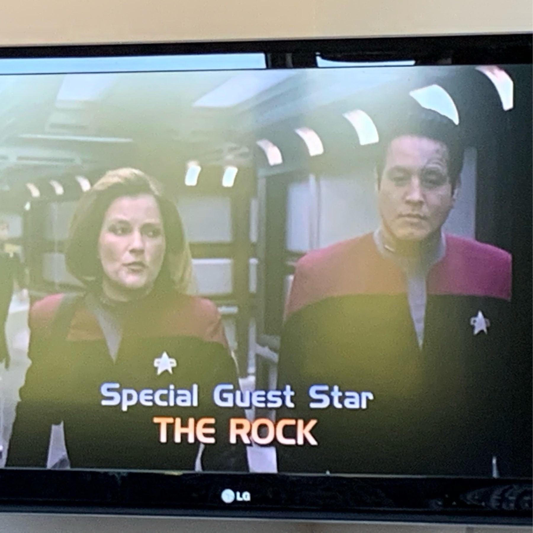 Star if a Star Trek Voyager episode with the opening credits saying Specail Guest Star The Rock