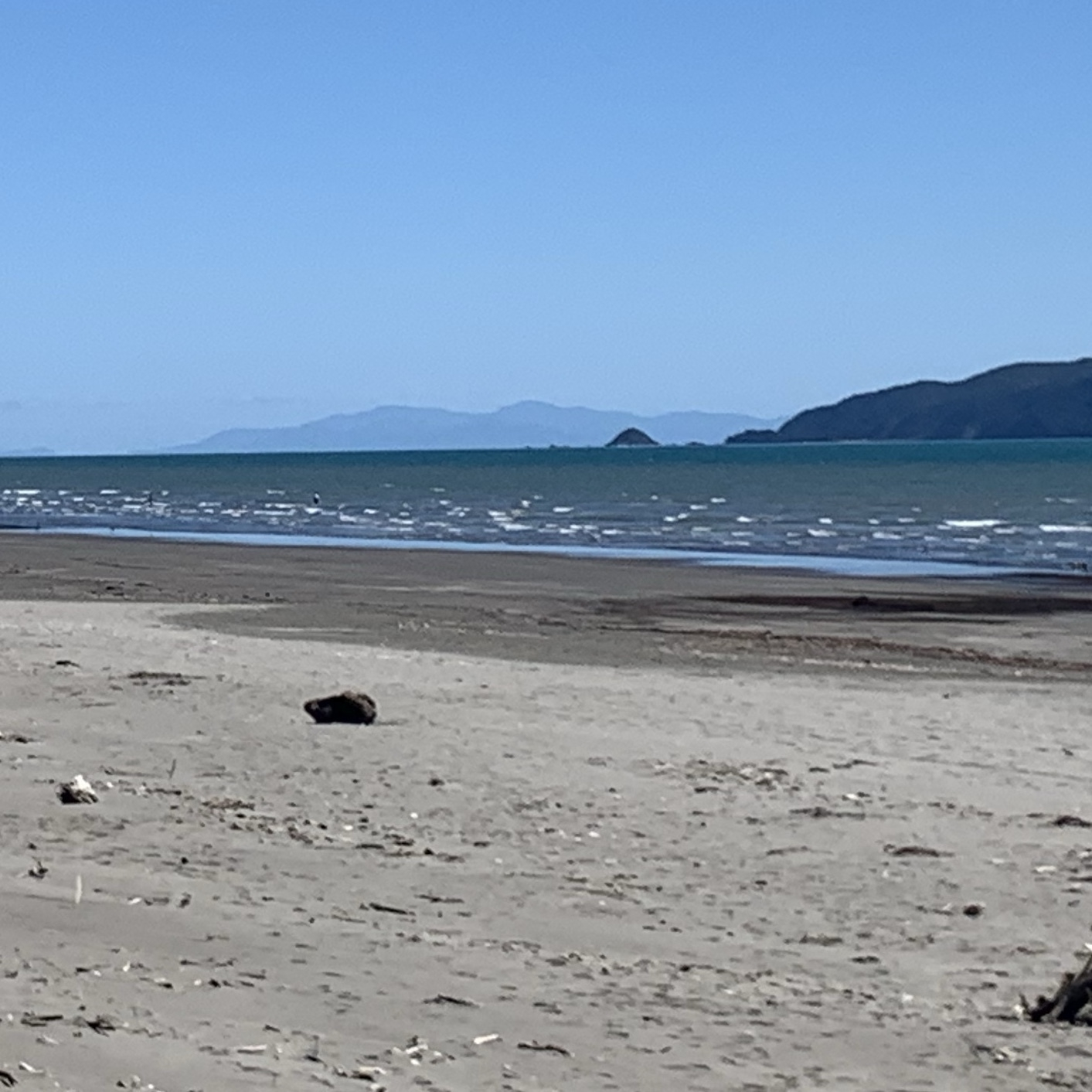 The South Island in the far diatance as taken from the beach at Waikanae