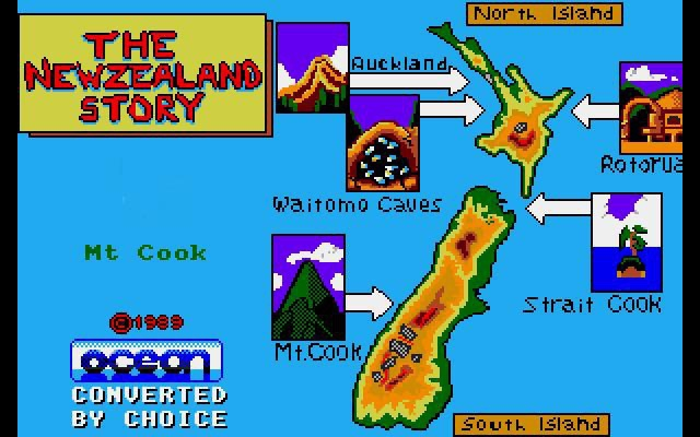 The map of New Zealand from the video game The NewZealand Story. It feature a palm tree growing on a tropicalisland in the Cook Strait (labelled Strait Cook) among other weird features, like showing Auckland as a giant mountain in the bush.