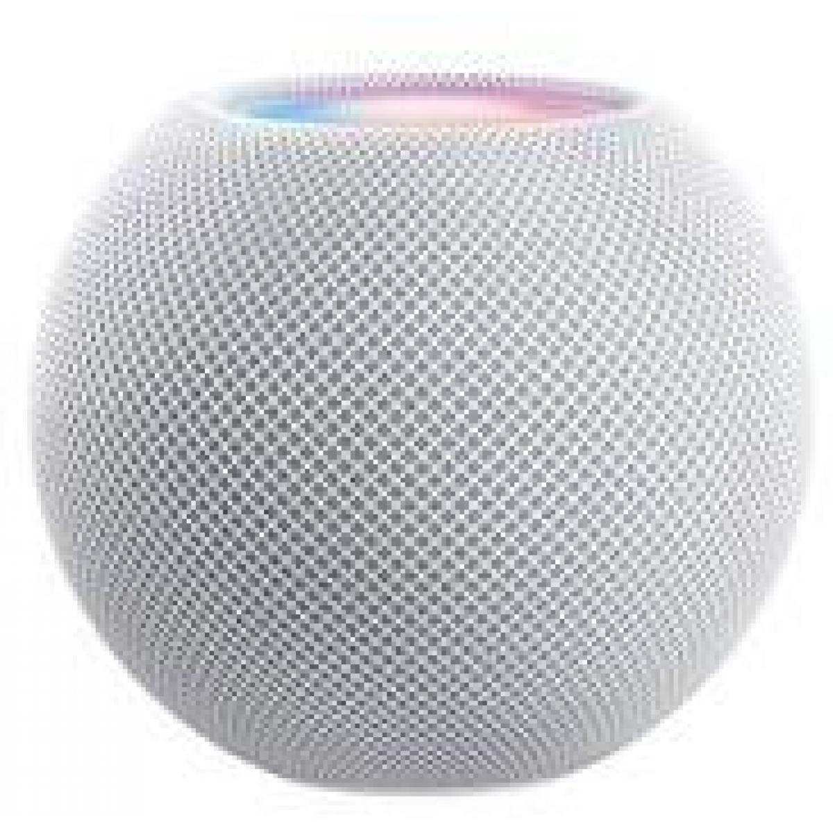 An Apple Homepod Mini in white.