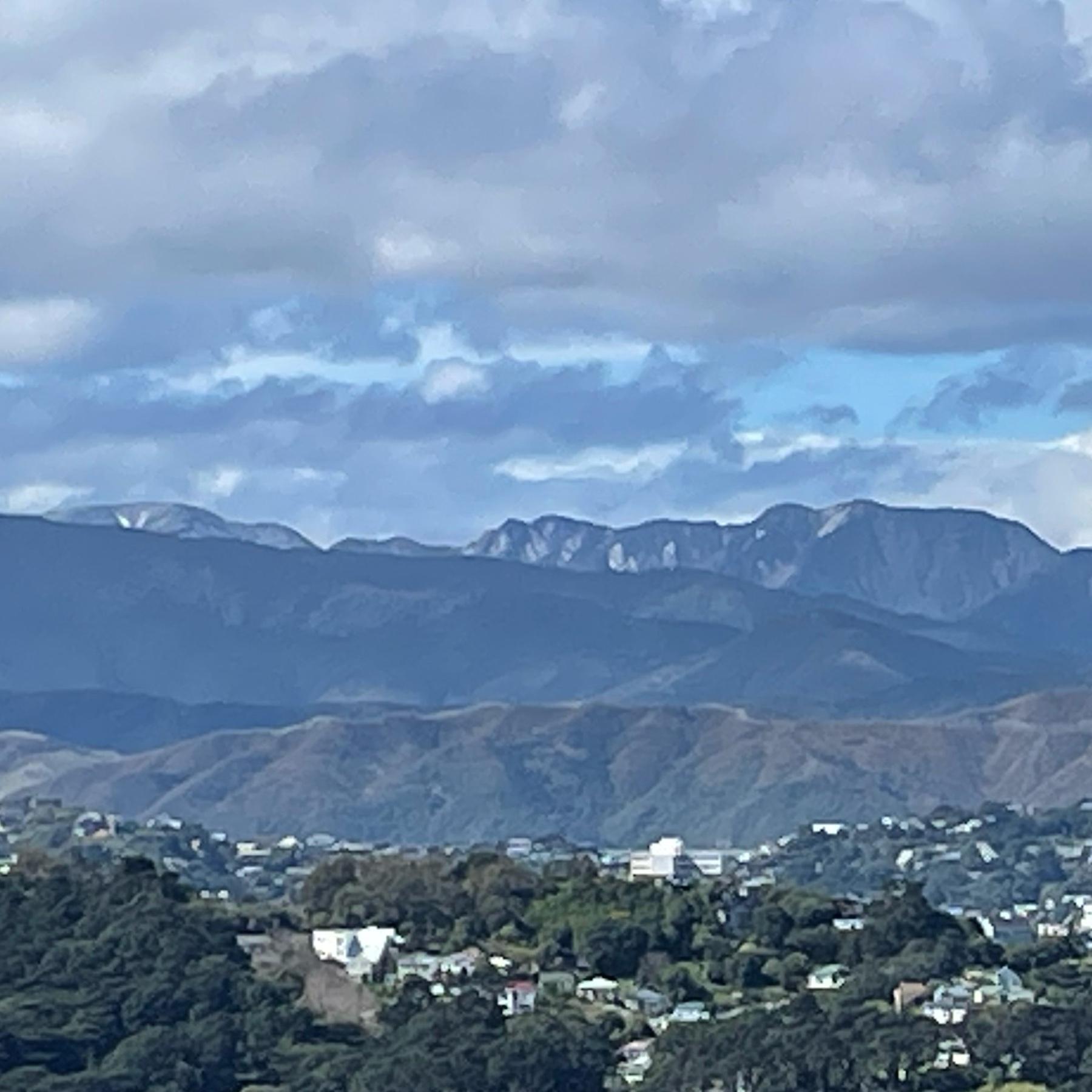 The Remutaka mountain range, east of Pōneke (Wellington), pictured from the western hills of Pōneke