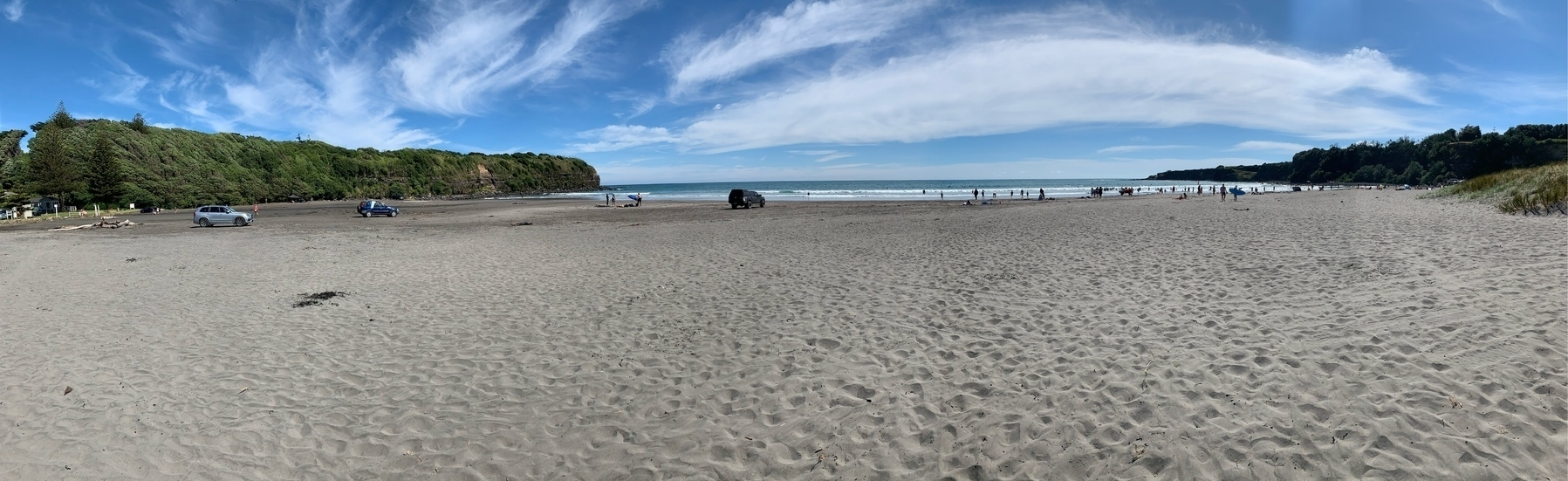 Ōpunake beach from the beach itself, looking out to the ocean water of the South Taranaki Bight