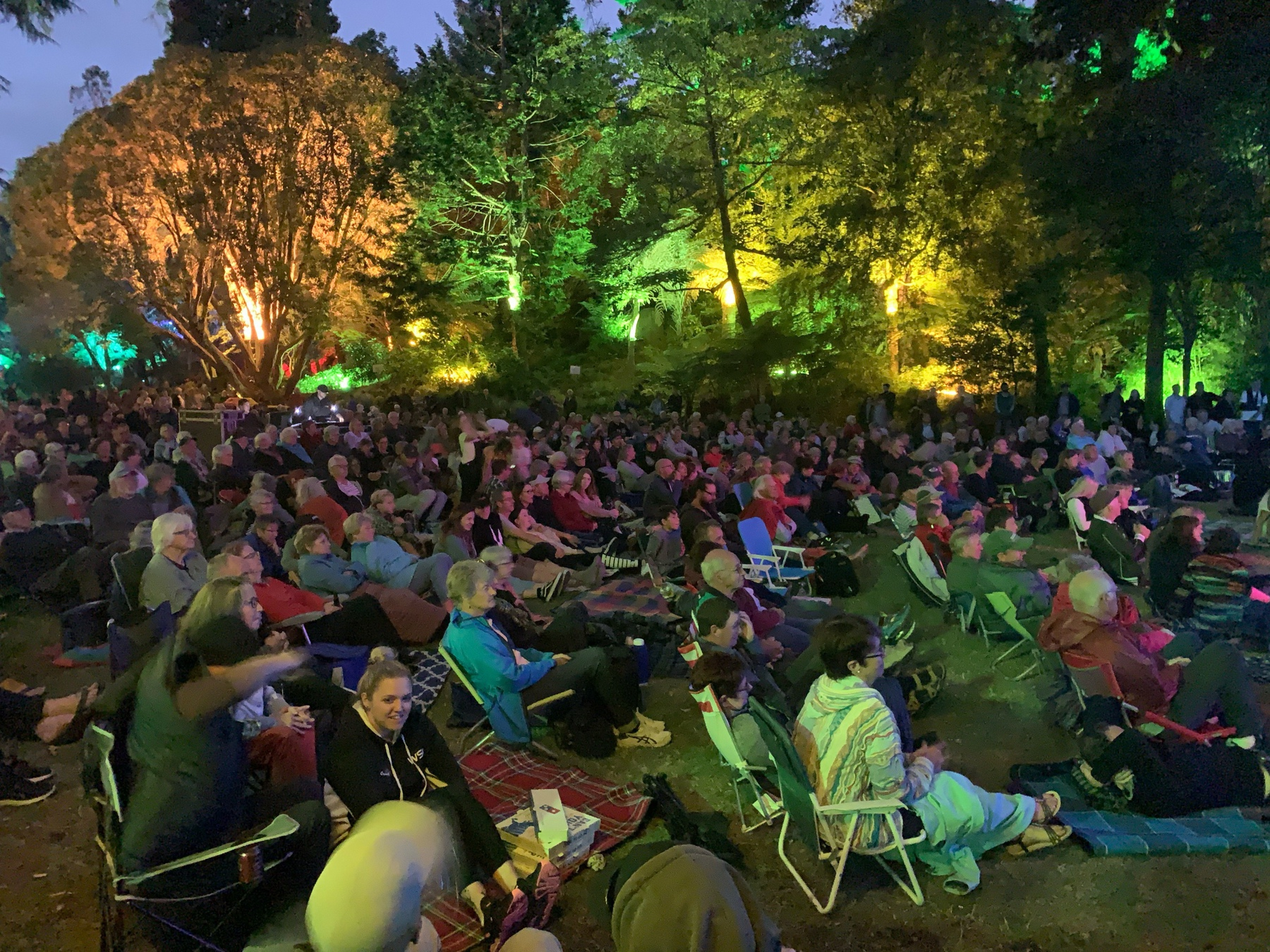 People sitting in audience of the concert at the New Plymouth Festival of Lights
