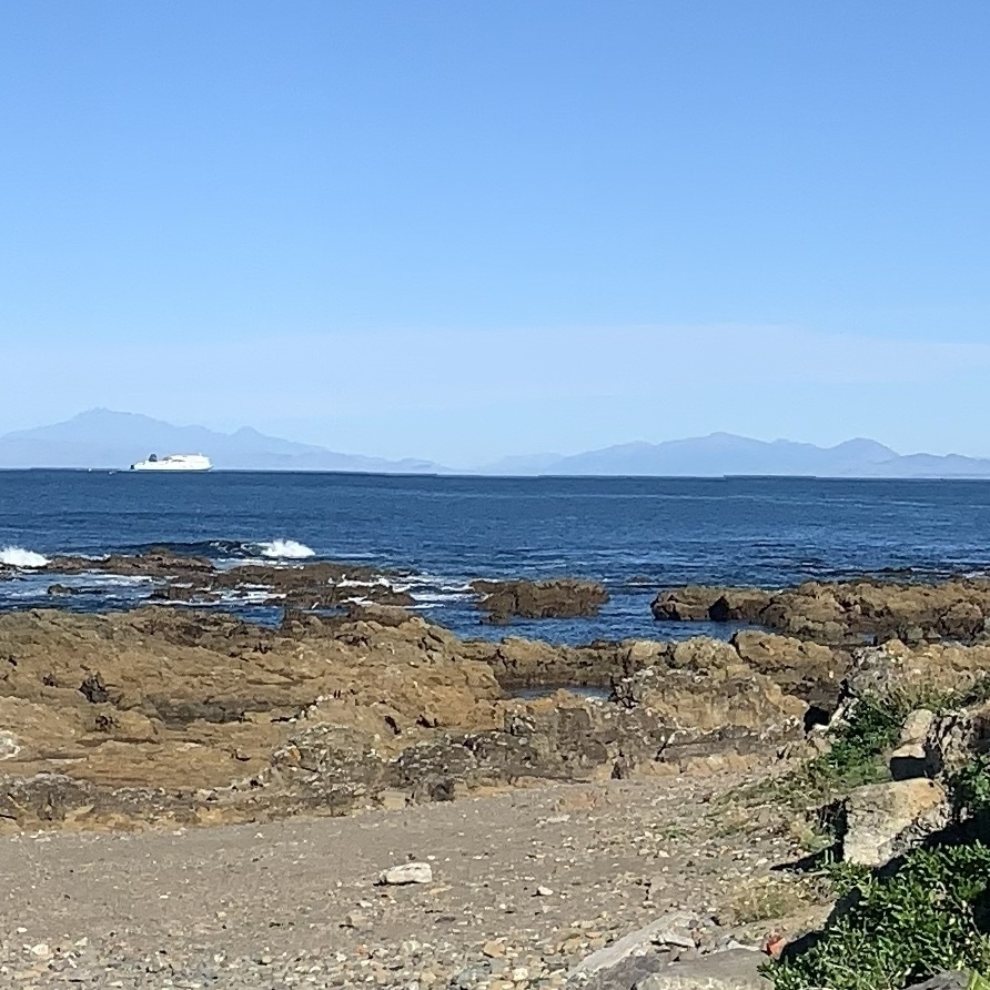 a view of the South Island from Wellingron's south coast on the north island, with the Interisland Ferry in view on its way to the port of Picton