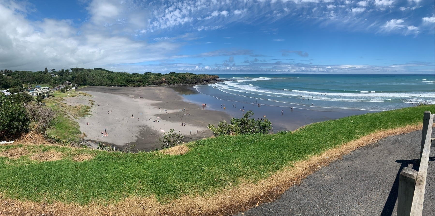 Ōpunake beach from a walkway on the cliffs on its west side